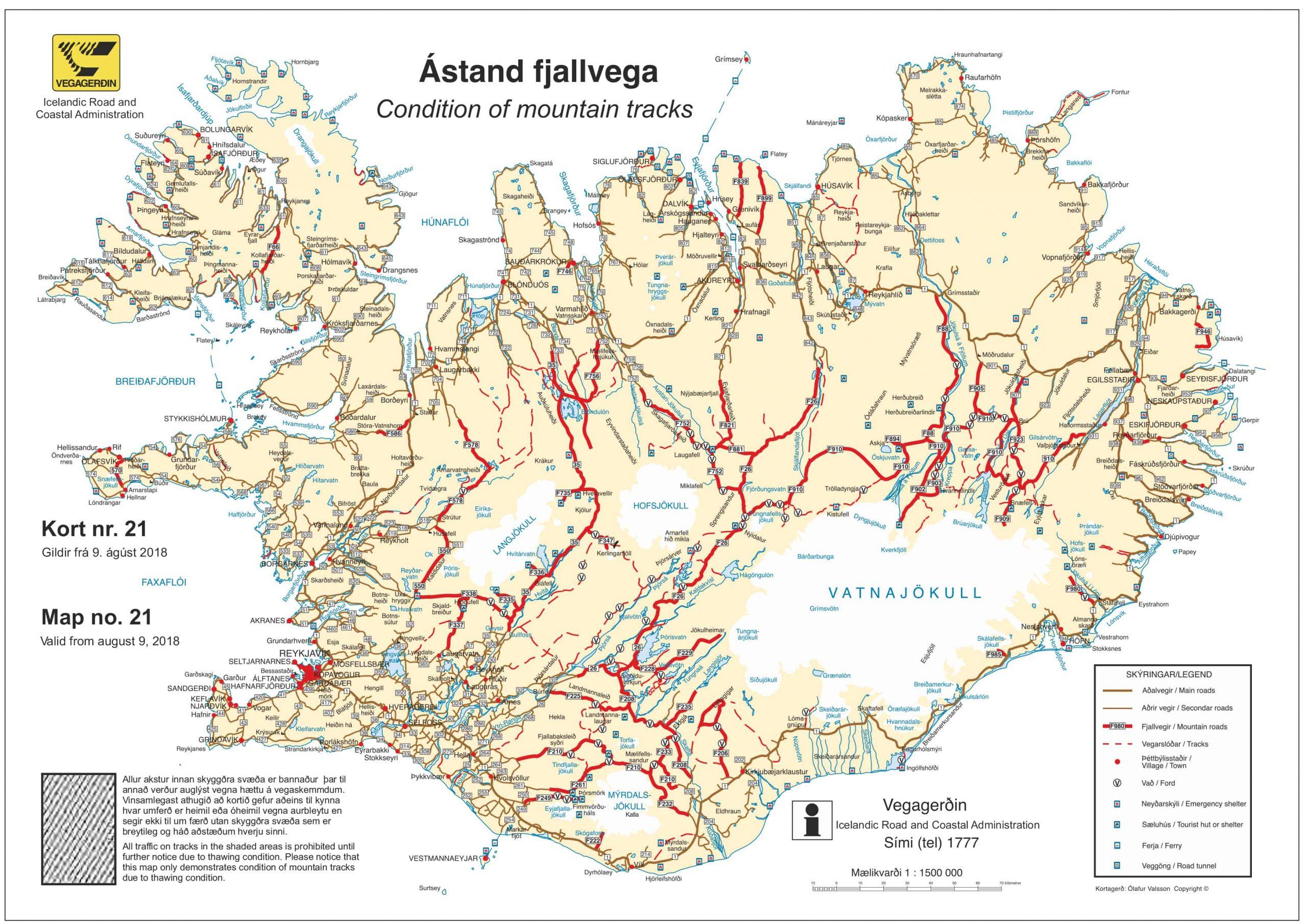 Mapa carreteras Islandia carreteras F Islandia conducir Islandia Iceland Road map 2018