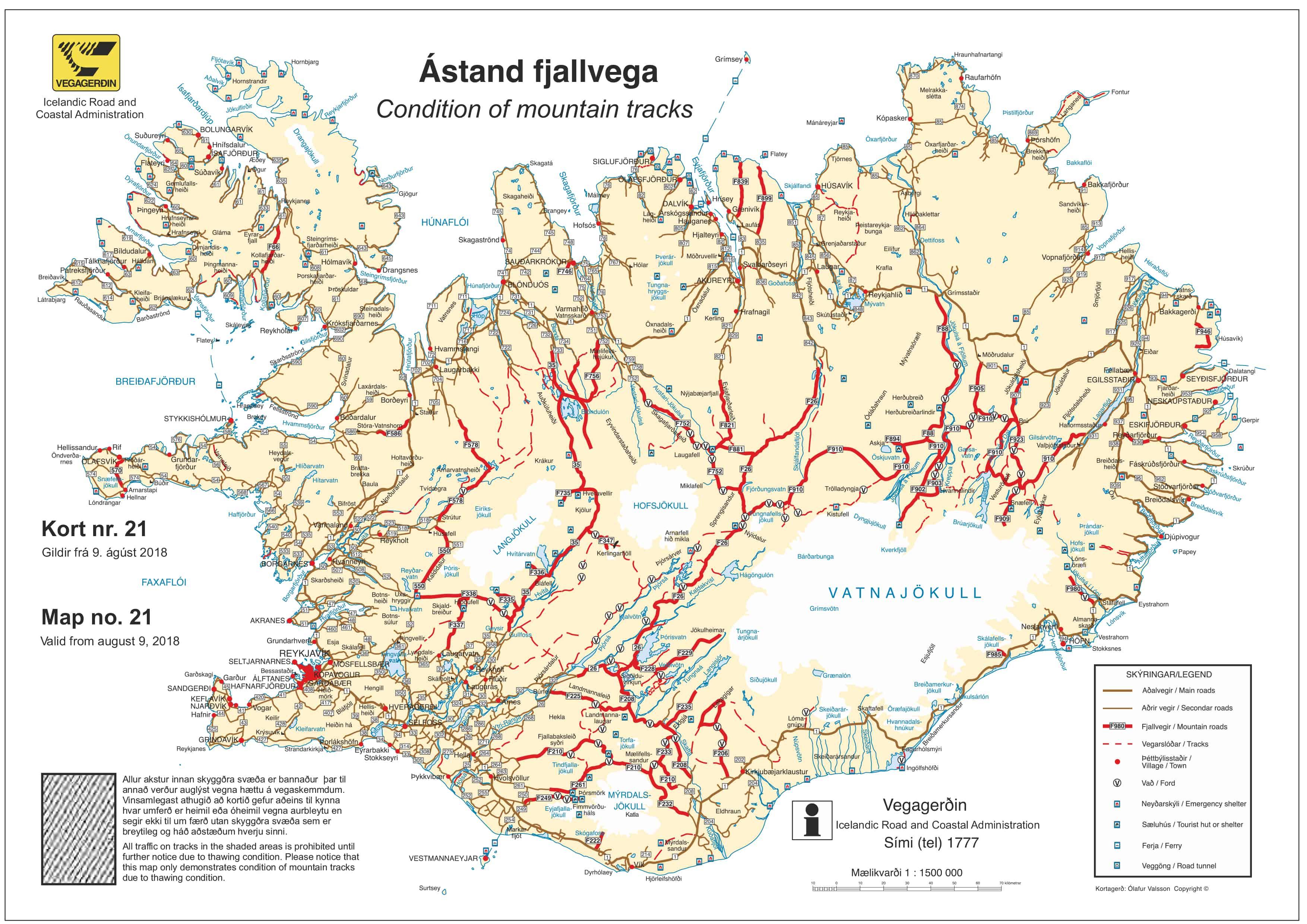 Mapa carreteras Islandia 2018 carreteras de montaña vadeos conducir Islandia Iceland Road map 2018