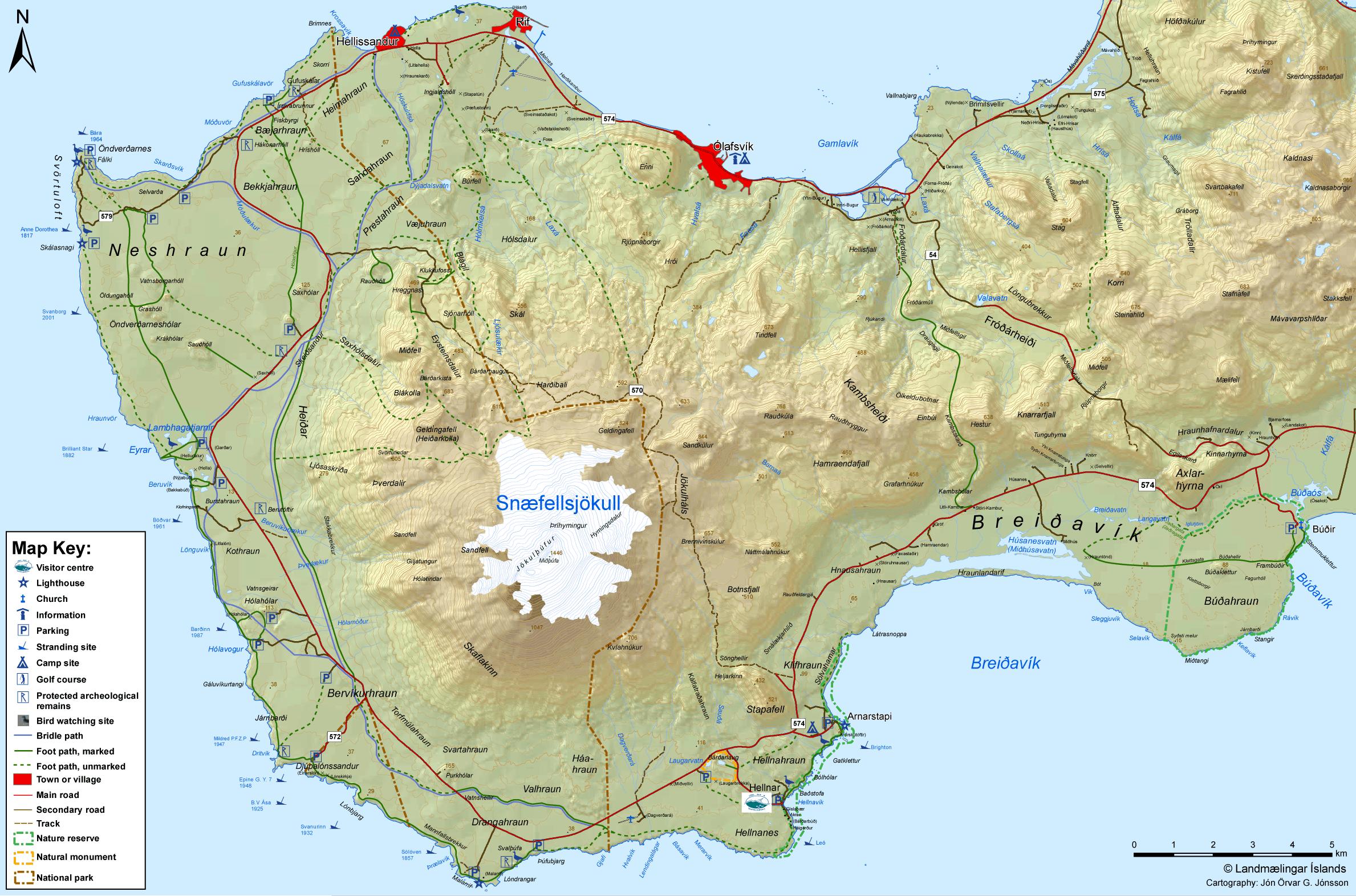 mapa Snaefellsjokull cómo llegar península Snaefellsnes Parque nacional Snaefellsjokull Snæfellsnes Islandia