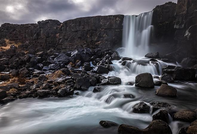Cascada Oxararfoss parque nacional Thingvellir Circulo Dorado Islandia