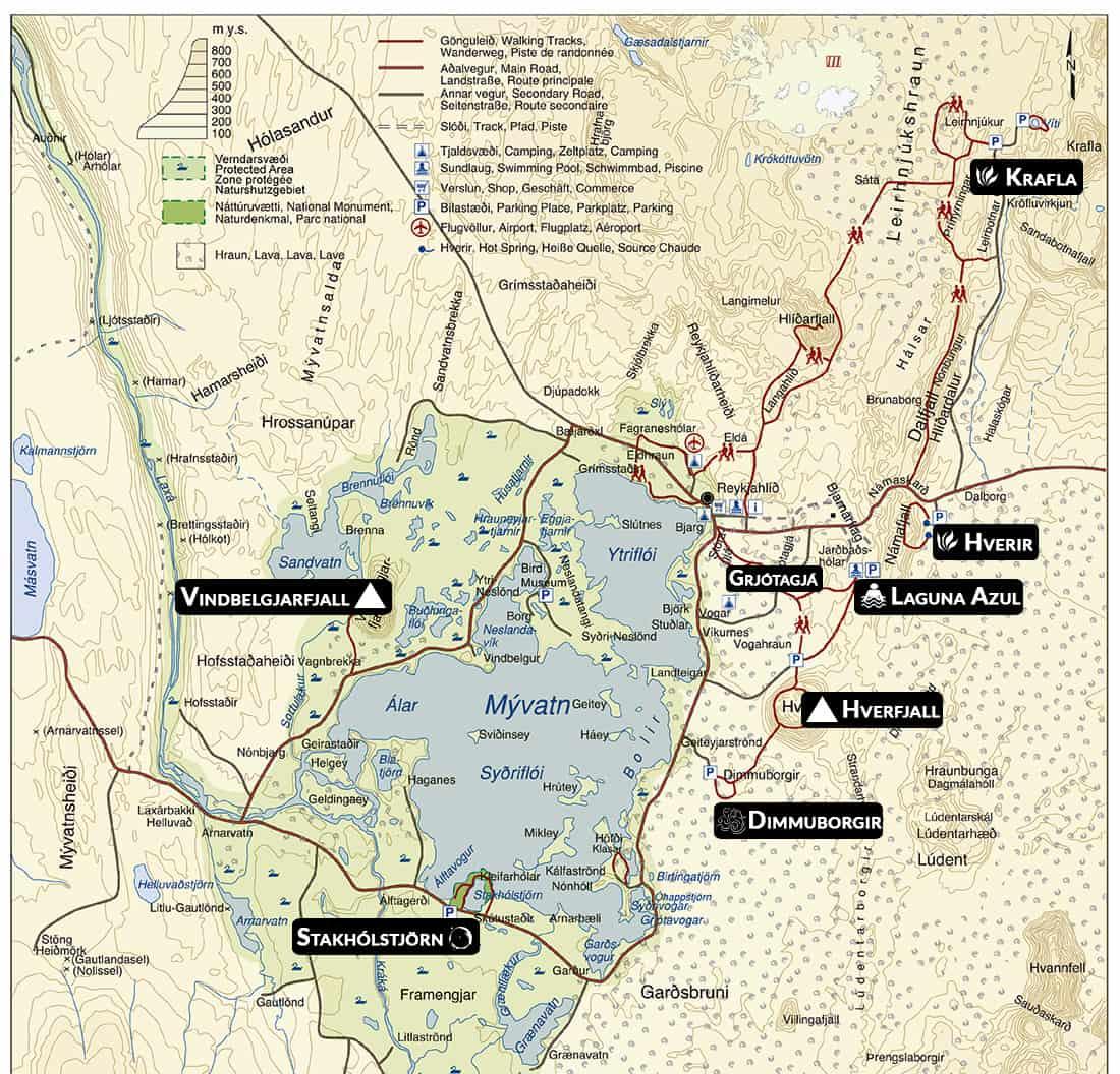 Mapa Myvatn