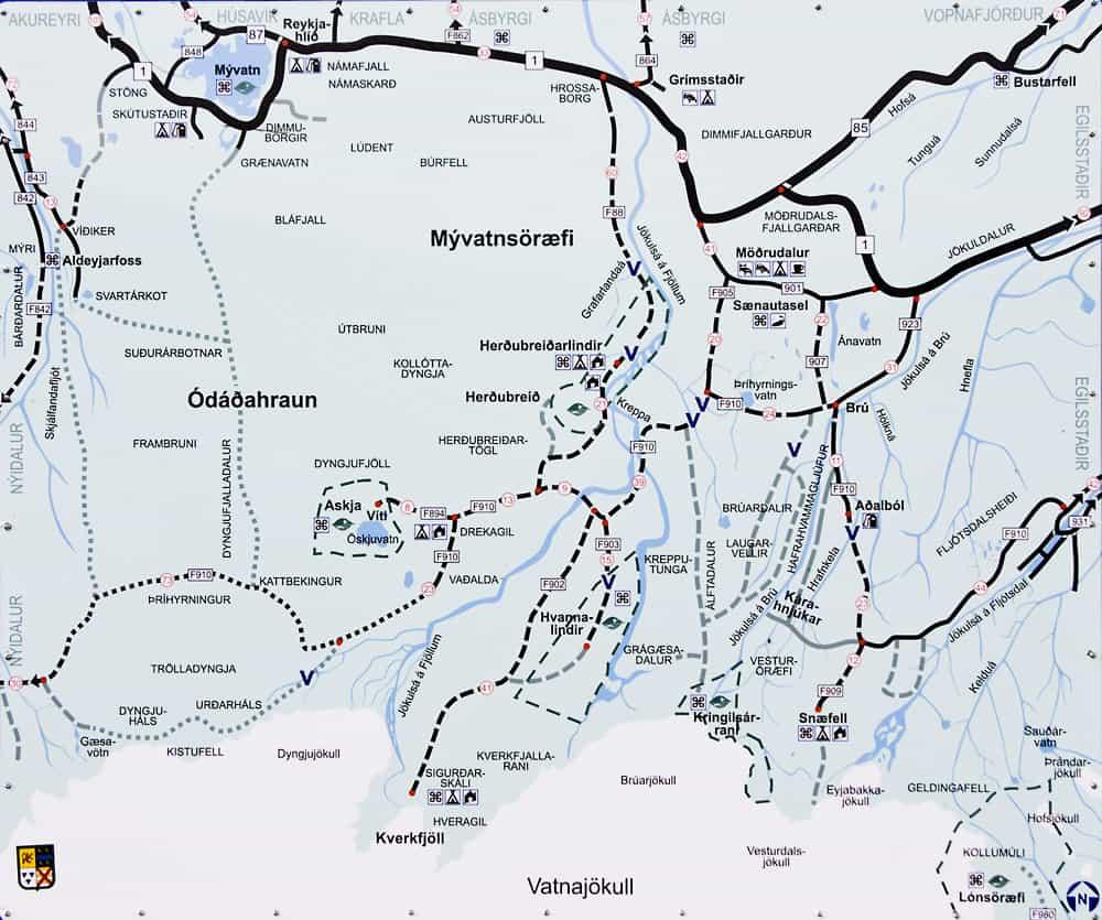 Mapa carreteras Tierras Altas Islandia como llegar Askja conducir carreteras F