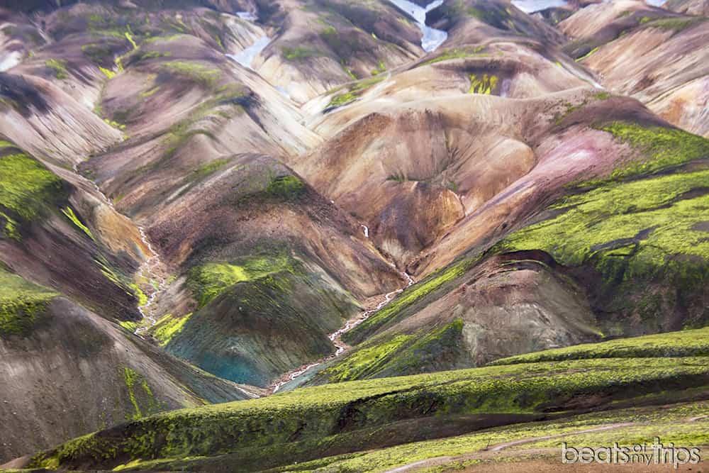 Montañas colores Trekking Landmannalaugar Islandia Mapa