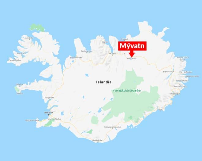 Mapa Myvatn norte islandia blog