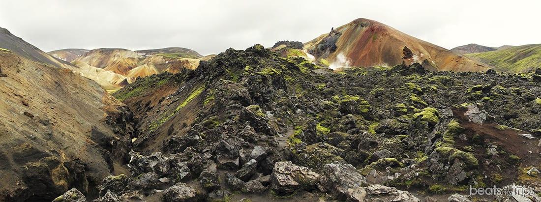 Trekking Landmannalaugar Montañas colores Laugahraun Brennisteinsalda Mapa Islandia