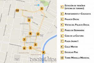 Mapa Gandía Monumentos Turismo tapas