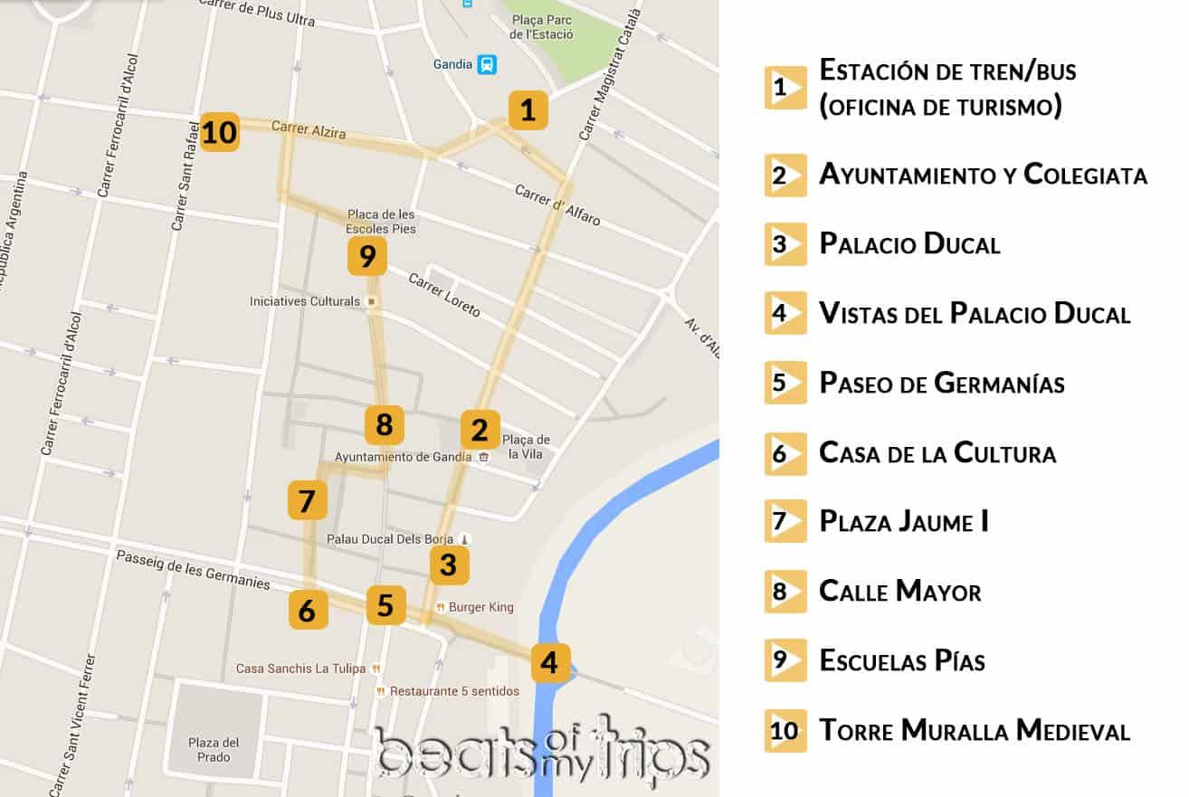 visitar Gandia Mapa Gandía que hacer qué ver Monumentos Turismo tapas Safor