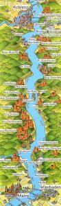 Mapa Crucero Rin Romántico Alemania Castillos Rhine Rhein