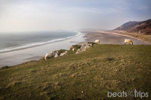 Playa de Rhossili con marea baja