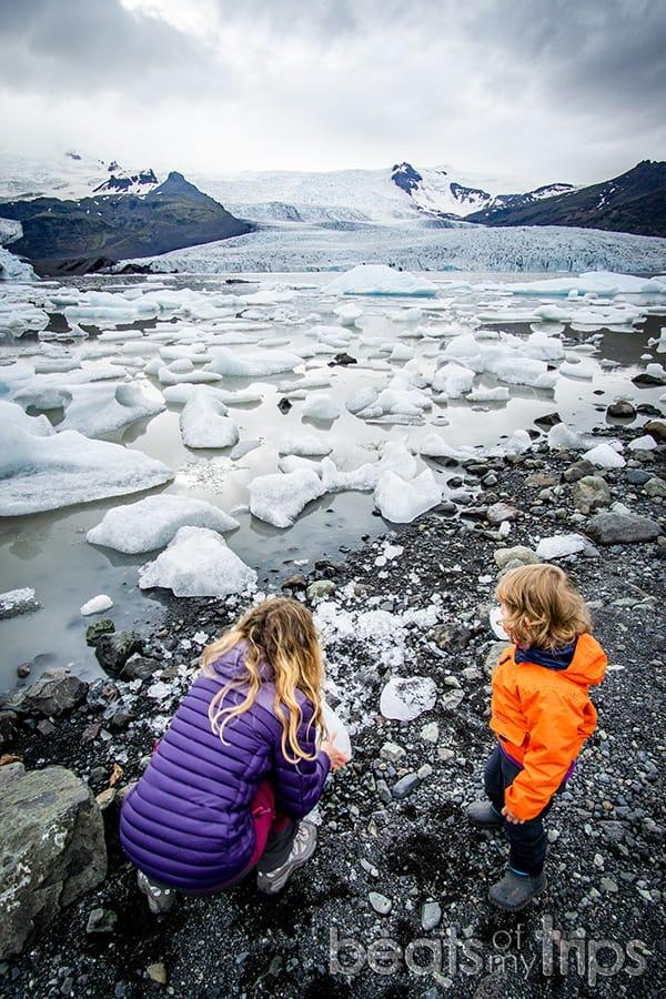 Laguna glaciar Fjallsarlon Islandia Fjallsjökull glaciar Vatnajokull Iceland viajar con niños
