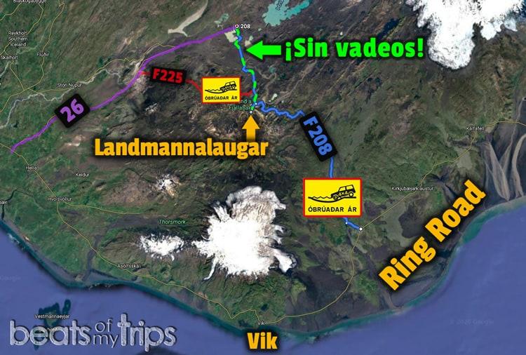 Mapa carreteras Landmannalaugar por libre trekking Islandia coche 4x4 autocaravana