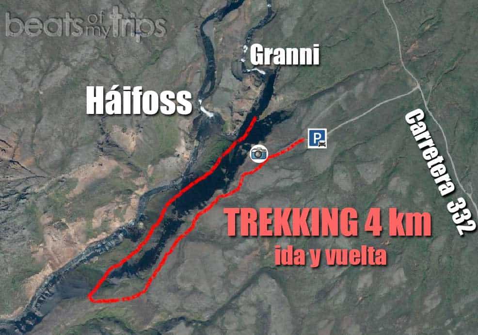 mapa trekking cascada Haifoss Háifoss Islandia